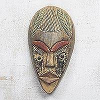 Akan wood mask, 'Success' - Unique Ghanian Wood Mask
