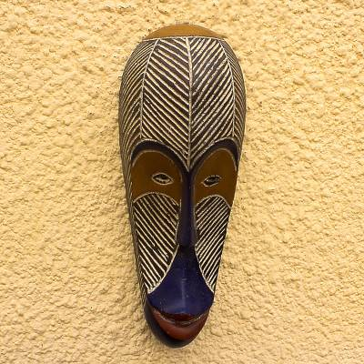 Africa Gabonese wood mask, 'Fang Fisherman' - Hand Carved African Wood Mask