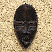 Dan wood mask, 'Dan Mediator' - Hand Crafted Wood Wall Mask
