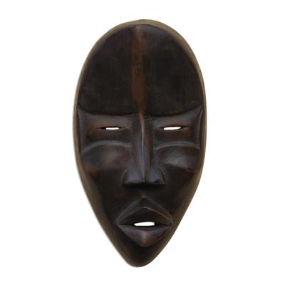 Dan wood mask, 'Dan Mediator' - Hand Crafted Wood Wall Mask