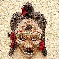 Congolese wood Africa mask, 'River Goddess' - Handcrafted African Water Goddess Mask