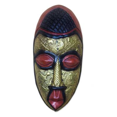 Akan wood mask, 'Royal Authority' - Akan Tribeal Wood Mask