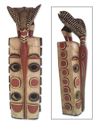 Ewe wood mask, 'Power, Peace and Prosperity' - Ewe Wood Mask