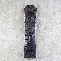 Akan wood mask, 'A Queen Mother's Duties' - Akan wood mask