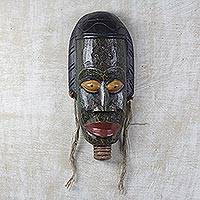 Akan wood mask, 'Lady Protector' - Artisan Crafted Wood Mask