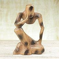 Wood sculpture, 'Abstract Thinker' - Thought and Meditation Wood Sculpture