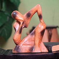 Wood sculpture, 'I Am Thinking' - Hand Carved Wood Sculpture