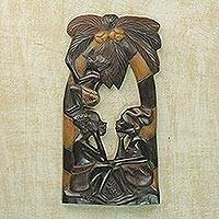 Wood wall adornment, 'Thinking Together' - Wood wall adornment