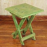 Wood folding table, 'Transformation' - Handcrafted Rustic Foldin Table from Ghana
