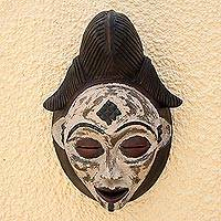 Gabonese African wood mask, 'Guiding Spirit' - Handcrafted West African Wooden Mask