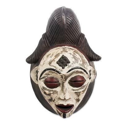 Gabonese African wood mask, 'Guiding Spirit' - Unique Gabonese Wood Mask
