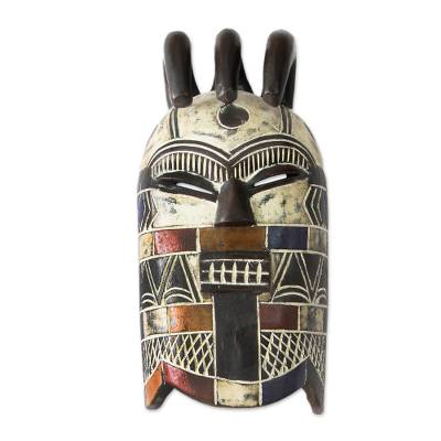 Congolese wood Africa mask, 'Secret Initiation' - Congolese Wood Wall Mask