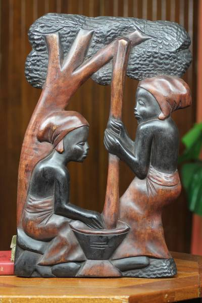 Wood panel, 'Fufu Pounders' - Handcarved Wood Relief Panel from Africa