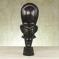 Akan wood mask, 'African Bravery' - Akan wood mask