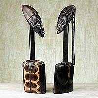 Wood sculptures, 'Bride and Groom' - African Wood Wedding Sculpture