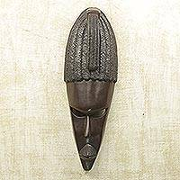 Akan wood mask, 'True Friend' - Hand Made Wood Mask