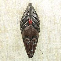 Akan wood mask, 'Be Strong' - Akan wood mask