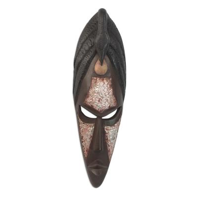 Ashanti wood mask, 'Be Positive' - Ashanti wood mask