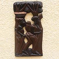 Wood wall adornment, 'From the Farm' - Wood wall adornment