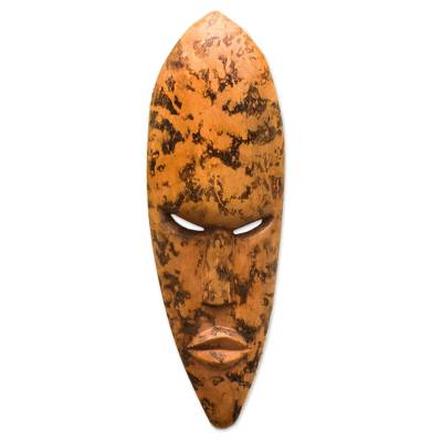 Akan wood mask, 'Sprinkle' - Handcrafted Wood Wall Mask