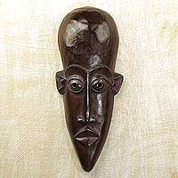 Akan wood mask, 'Worthy Warrior' - Akan wood mask