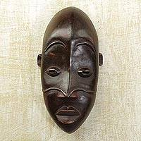 Dan wood mask, 'Dan Adolescent' - Dan wood mask