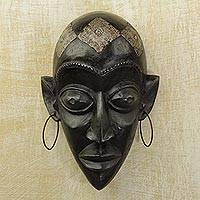 Hausa wood mask, 'Hausa Beauty' - Unique Wood Mask