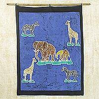 Batik wall hanging, 'Nature's Own' - Batik Wall Hanging from Africa