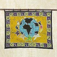 Batik wall hanging, 'Teamwork' - Batik Cotton Wall Hanging from Africa