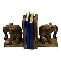 Wood bookends, 'African Elephants' - Hand Carved Wood Bookends