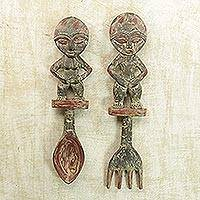 Wood wall adornments, 'Akan Twins' (pair) - Cultural Wood Wall Art (Pair)