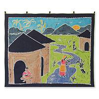 Batik wall hanging, 'Village in the East' - Batik wall hanging