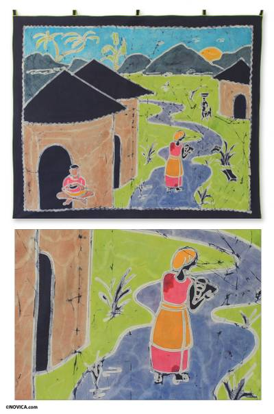 Batik wall hanging, Village in the East