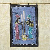 Batik wall hanging, 'Working Together' - Batik wall hanging