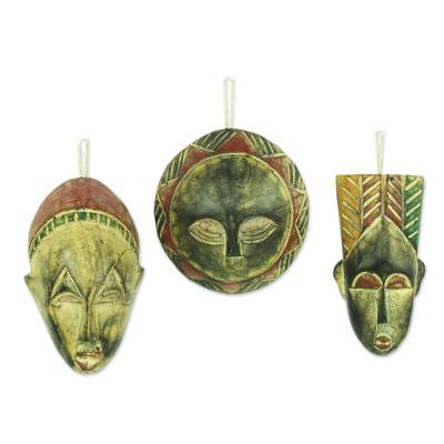Handcrafted Wood Christmas Ornaments (Set of 3)