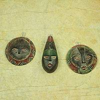 Wood ornaments, 'Royal Kings' (set of 3)