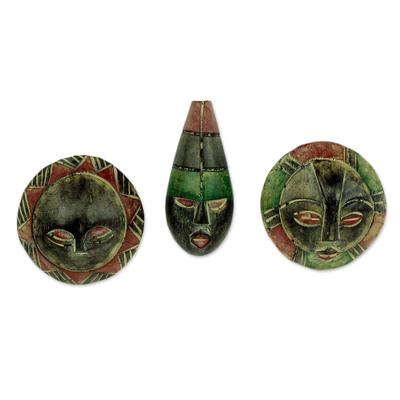 Wood ornaments, 'Royal Kings' (set of 3) - Artisan Crafted Wood Christmas Ornaments (Set of 3)
