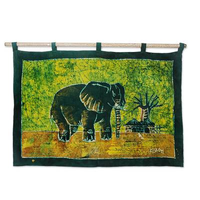 Batik wall hanging, 'Proud African Elephant' - Handcrafted Batik Cotton Wall Hanging