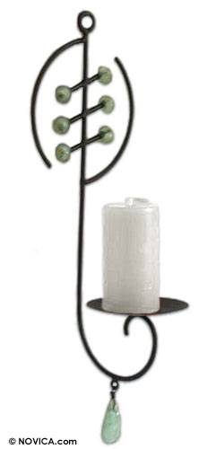 Iron and recycled glass wall candleholder, 'Ashanti Light' - Fair Trade Recycled Glass Wall Sconce from Africa
