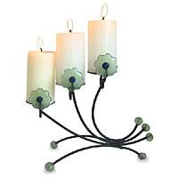 Iron and recycled glass candleholder, 'Natural Flowers'