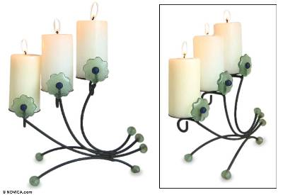 Iron and recycled glass candleholder, 'Natural Flowers' - Iron and recycled glass candleholder