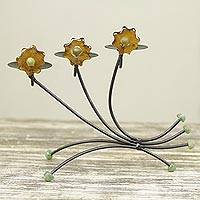 Iron and recycled glass candleholder, 'Amber Flowers' - Floral Recycled Glass and Iron Candle Holder