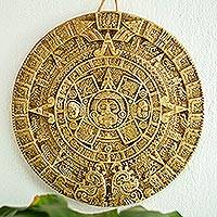 Ceramic plaque, 'Aztec Sun Stone in Tan' (large) - Ceramic plaque (Large)