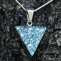 Dichroic art glass pendant necklace, 'Caribbean Sparkle' - Dichroic Glass Necklace with Sterling Silver 925 Mexico