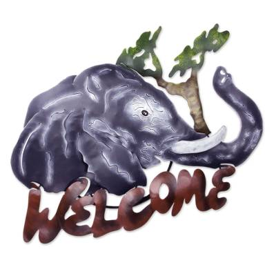 Iron welcome sign, 'A Jumbo Welcome' - Unique Elephant Steel Welcome Sign Outdoor Living