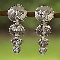 Silver drop earrings, 'Moon Goddess' - Silver drop earrings