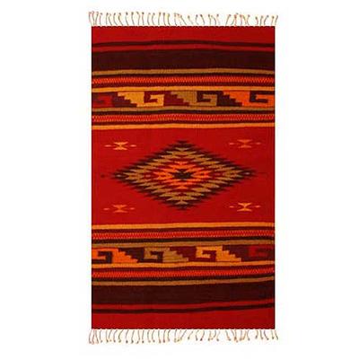 Zapotec wool rug, 'Green Maguey' (2x3) - Handmade Zapotec Wool Area Rug (2x3)