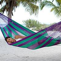 Hammock, 'Green Vineyard' (double) - Handcrafted Nylon Double Hammock