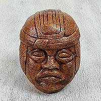 Ceramic figurine, 'Olmec Head' - Mexico Hand Made Archaeological Ceramic Sculpture