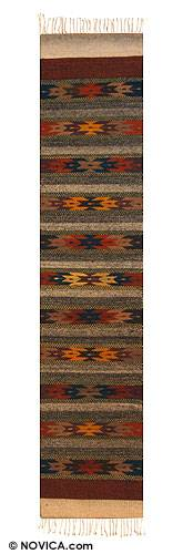 Zapotec wool runner, 'Stars on Earth' (1.5x6) - Geometric Wool Area Rug (1.5x6)